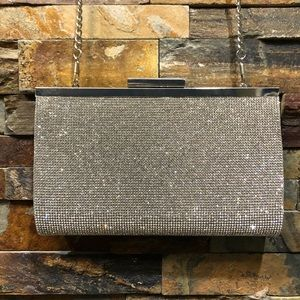 Nina Silver Crystal Clutch Purse with Chain